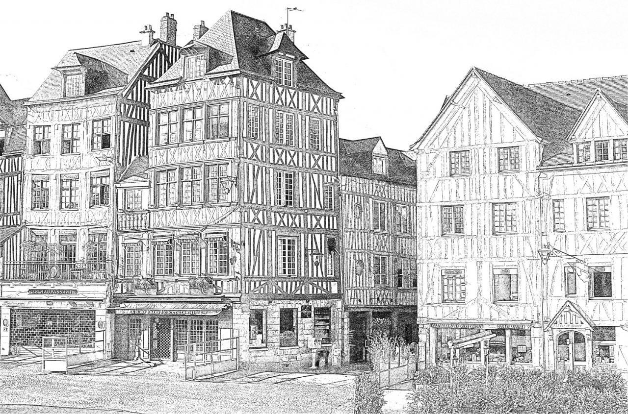 place du vieux marché maison normande - Croquis